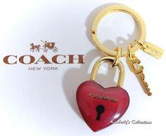 COACH Lock Up Your Puffy Heart Key Chain Purse Bag FOB Charm NWT #Coach
