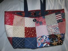 Patriotic Tote Bag.  Red White and Blue Quilted by JDCreativeHands, $25.00