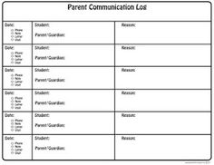 Parent Communication Log
