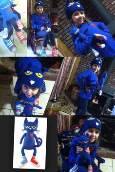 Pete the cat costume Book Characters Dress Up, Character Dress Up, Book Character Costumes, Storybook Characters, Boy Halloween Costumes, Cat Costumes, Halloween 2019, Halloween Ideas, Costume Ideas