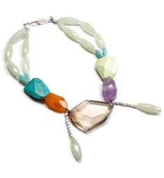 Denise Julia Reytan Necklace: LIVING MEMORY 2011 Smoky quartz, amethyst, red agate, amazonite, turquoise, serpentine, silver, white agate, m...