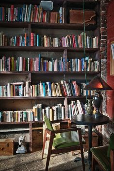One day have a room completely filled of books on one side and the most comfortable chair or FLOOR on the other Classic Bookshelves, Library Bookshelves, Williamsburg Apartment, Carved Pumpkins, Goat Farming, Home Libraries, Celebrity Houses, Colour Schemes, Nooks