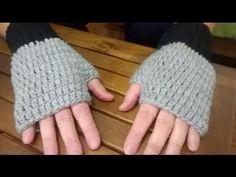 Guantes sin dedos o mitones a crochet (diestro) - YouTube