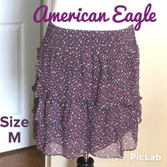 AEO Floral Skater Skirt Size M Waist is 28 inches (elastic), Length is 16 inches. Excellent Condition! American Eagle Outfitters Skirts Circle & Skater