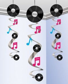 Bolsa 3 colgantes decorativos disco music 60 cms
