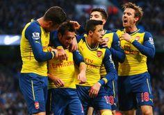 Arsenal boys celebrate santis goal against city...we gunned them at their own backyard.Man city 0-2 Arsenal.Jan 18th,2015.