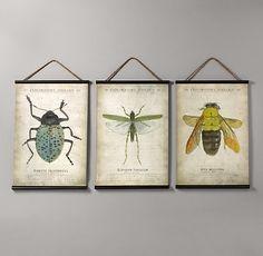 "Entomology Tapestry Set of 3   375.00   includes bee, grasshopper, beetle   28"" x 36"" ea   Restoration Hardware Baby & Child   item# 102850 S/3."