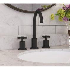 Wildon Home® Eliana Widespread Bathroom Faucet Finish: Matte Black - Modern Widespread Bathroom Faucet, Bathroom Sink Faucets, Single Bathroom Vanity, Bathroom Fixtures, Master Bathroom, Neutral Bathroom, Matte Black Bathroom Faucet, Bathroom Plumbing, Lavatory Faucet