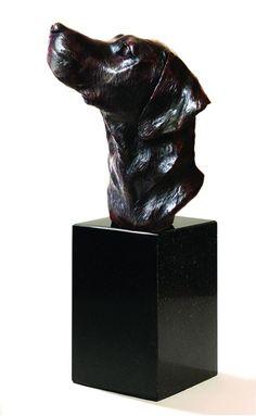 #Bronze #sculpture by #sculptor David Cemmick titled: 'Forever Faithful - Labrador Head (Portrait Bronze Pet Dog Bust statues)'. #DavidCemmick