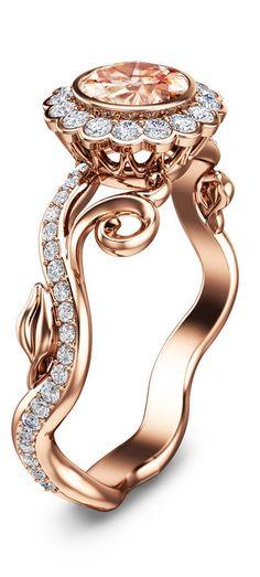Art Deco Rose Gold Morganite Ring 14K Rose Gold Engagement Ring Unique Engagement Ring #engagementring #ring #weddingring #proposal