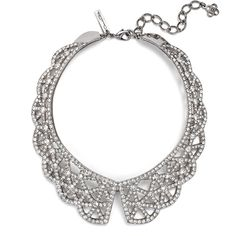 Rental Oscar de la Renta Crystal Web Necklace ($150) ❤ liked on Polyvore featuring jewelry, necklaces, crystal collar necklace, swarovski crystal jewellery, collar jewelry, crystal jewellery and long necklace