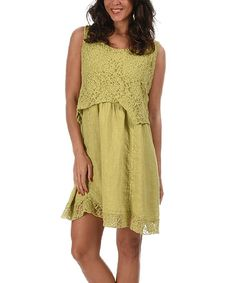 Love this Green Lace Overlay Linen Sleeveless Dress on #zulily! #zulilyfinds