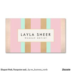 Elegant Pink, Turquoise and Rose Gold Stripes Double-Sided Standard Business Cards (Pack Of 100) Great striped pattern business card for cosmetologists, estheticians, makeup artists, hair stylists, hairdressers, fashion boutiques, beauty salons and more.