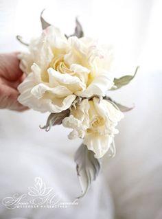 White Cream Pastel Vanilla Rose Silk flower corsage flower