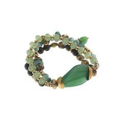 Biba bracelet green gold stone