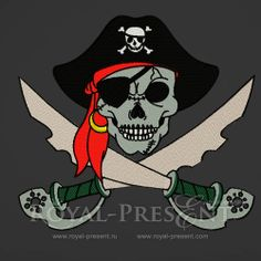 Machine Embroidery Design - Pirate Skull and crossed sables, $2.99