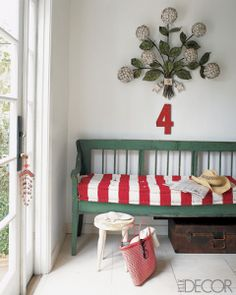 Candy stripes + mint green wood + Metal painted flowers