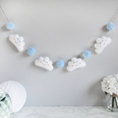 Cloud Garland With Coloured Pom Poms