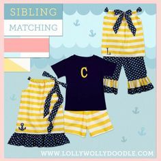 Matching sibling outfits and matching family outfits. I LOVE THIS SITE!!! www.lollywollydoodle.com
