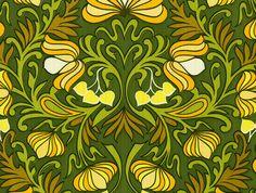 Green, Yellow Lotus Vintage Wallpaper   designyourwall.com