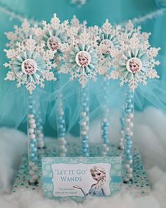 Items similar to Frozen Inspired Birthday Party Printables- Fully Customizable for your party! on Etsy 12 ELSA Party Favor Candy Wands- Read listing for other options/pricing! Disney Frozen Party, Frozen Party Favors, Frozen Party Decorations, Frozen Themed Birthday Party, Candy Party Favors, Birthday Party Decorations, Frozen Candy Table, Frozen Birthday Favors, Frozen Centerpieces