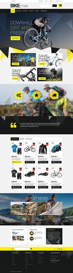 Really cool example of a mountain bike bicycle shop website design. Get a mobile responsive eCommerce site like this one with the WordPress online website builder at AllyOne.net