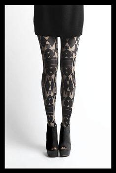 Black patterned tights.