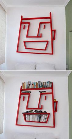 I would SOOO do this! How can you not love a bookcase, they always bring a smile. Even more when said bookcase is in the shape of a face! Old Bookshelves, Book Shelves, Kids Bedroom, Creative Design, Shelving, Furniture Design, Cool Stuff, Kid Stuff, Interior Design