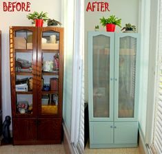 Before and After Furniture Renovation.  Furniture redo & makeover to an old cabinet.