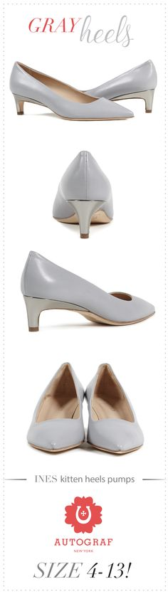 39b55543ff6d Great accent of pewter mirror metallic covered heels on Gray Nappa leather kitten  heel pumps.