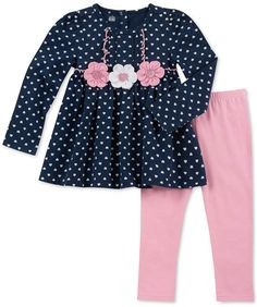 Kids Headquarters Baby Girl's Two-Piece Heart Tunic & Leggings Set Baby Girl Dress Patterns, Little Girl Dresses, Stylish Dresses For Girls, Girls Dresses, Baby Girl Onsies, Baby Girls, Kids Dress Wear, Baby Frocks Designs, Toddler Girl Style