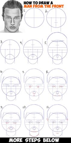 How to Draw a Man's Face from the Front View (Male) Easy Step by Step Drawing Tutorial for Beginners – Drawing Techniques Human Face Drawing, Human Figure Drawing, Boy Drawing, Painting & Drawing, Learn Drawing, Body Painting, How To Draw Steps, Learn To Draw, How To Draw Man