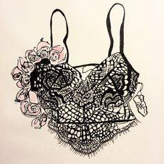 "Love and Lemons ""Bat Your Lashes"" bra. Illustration by Alexandra Constantine."