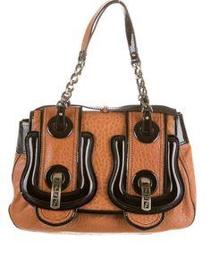FENDI Classic B Buckle Bag in Tan Brown and Black Trim Patent Leather #Fendi #ShoulderBag