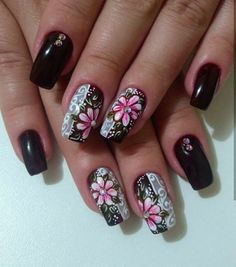 Perfect Colorful Floral Nail Design – 8 It's your turn to have great nails! Check out this year's most … Fancy Nails, Trendy Nails, Pink Nails, Cute Nails, Rose Nail Art, Flower Nail Art, Glitter Nail Art, Diy Nail Designs, Colorful Nail Designs