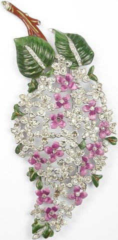 Trifari 'Alfred Philippe' Pave and Enamel Giant Lilac Pin