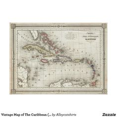 Vintage Map of The Caribbean (1852) Poster