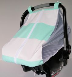 Summer car seat canopy - mint and white stripe car seat cover - cotton car seat canopy - Fitted carseat cover - Mint baby - Made to order by DearLeoraDesigns on Etsy