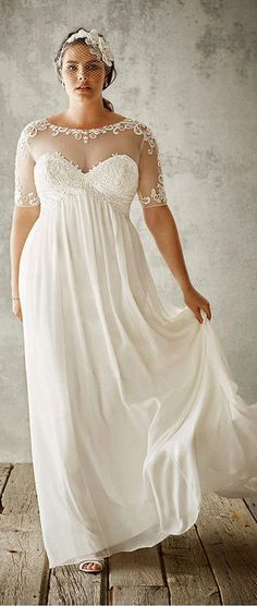 0d41ab671c3 Flowing Tulle   Satin Sweetheart Neckline A-Line Plus Size Wedding Dresses  With Lace Appliques (I want this but with the little designs at the top  being ...