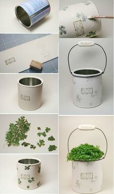 latas recicladas - ManualidadesDiy con latas recicladas - Manualidades VIDEO Tutorial: Make a round cement planter with a balloon. A step by step tutorial on how to make these cool planters using a balloon as a mould and cement instead of concrete. Tin Can Crafts, Diy Home Crafts, Jar Crafts, Crafts To Make, Tin Can Art, Recycled Crafts, Diy Art, Flower Pots, Decoupage