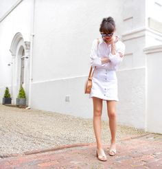 white shirt + denim skirt