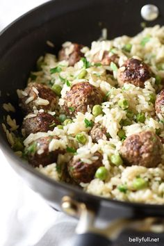 Meatball and Rice Skillet with Baby Peas - a delicious and easy weeknight meal all in one pot, featuring baked rice, meatballs, and sweet baby peas. Meat Recipes, Dinner Recipes, Cooking Recipes, Healthy Recipes, Cooking Stuff, Healthy Treats, Turkey Recipes, Eating Healthy, Recipes