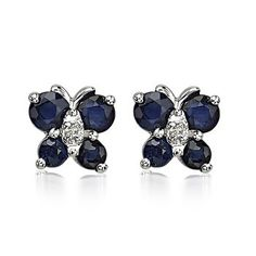 Angara Blue Sapphire Butterfly Stud Earrings with Diamond in White Gold RnJGAUOnm