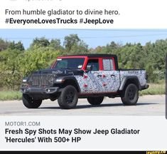 From humble gladiator to divine hero.COM Fresh Spy Shots May Show Jeep Gladiator 'Hercules' With HP - iFunny :) Funny Car Memes, Car Humor, Jeep Gladiator, Harry Potter Memes, Disney Animation, Hercules, Popular Memes, Spy, Fun Facts