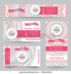 Set of corporate identity templates with doodles tribal theme. Vector illustration for pretty design. Ethnic vintage patterns. Pink, blue and white colors. Border, frame, icon elements. - stock vector