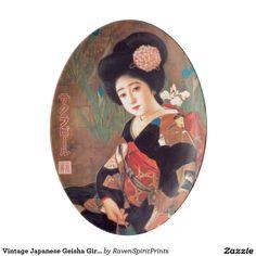 Vintage Japanese Geisha Girl Retro Designer Platter Dish