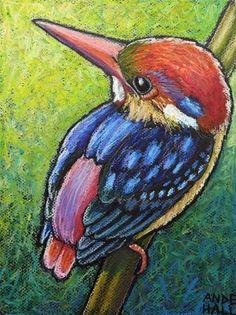 "Daily Paintworks - ""Oriental Dwarf Kingfisher"" - Original Fine Art for Sale - © Ande Hall Pastel Artwork, Oil Pastel Paintings, Oil Pastel Art, Oil Pastel Drawings, Bird Artwork, Animal Paintings, Horse Paintings, Art Drawings For Kids, Bird Drawings"