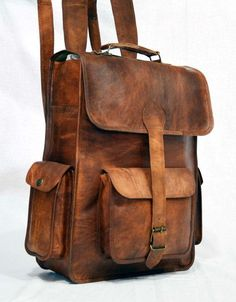 handmade vintage leather laptop rucksack backpack, vintage backpack for…
