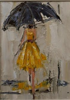 "I believe this is ""Dancing in the Rain 1"" oil on canvas by By Kathryn Morris Trotter www.kathryntrotterart.com.  Reminds me of Audrey Hepburn"