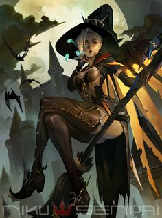 Overwatch Mercy - Witch Personal Illustration of the new badass skin! Overwatch Mercy, Overwatch Comic, Overwatch Fan Art, Fanart Overwatch, Female Character Design, Game Character, Character Concept, Concept Art, Witches